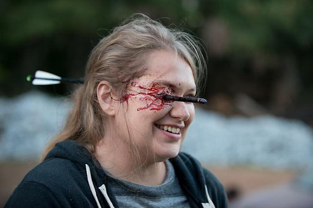 <p>Merrit Wever laughs it up as she prepares to film Dr. Denise's death. Damn you, Dwight!<br><br>(Photo: AMC) </p>