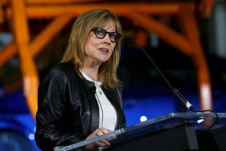 General Motors Chairman & CEO Mary Barra updates auto workers and the media on autonomous vehicles development and the Chevrolet Bolt EV at GM's Orion Assembly plant in Orion, Michigan, U.S., June13, 2017. REUTERS/Rebecca Cook/Files