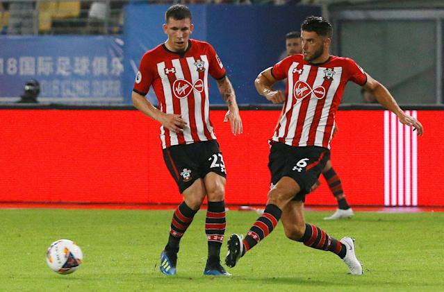 Soccer Football - Club Super Cup - Schalke 04 v Southampton - Kunshan Stadium, Kunshan, China - July 5, 2018 Southampton's Wesley Hoedt and Pierre-Emile Hojbjerg in action REUTERS/Thomas Peter