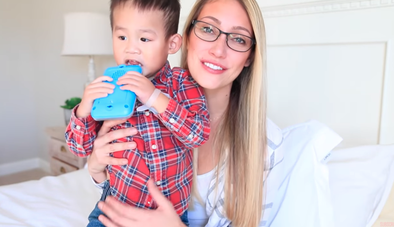 Myka Stauffer in video introducing son Huxley after adopting him from China in 2017
