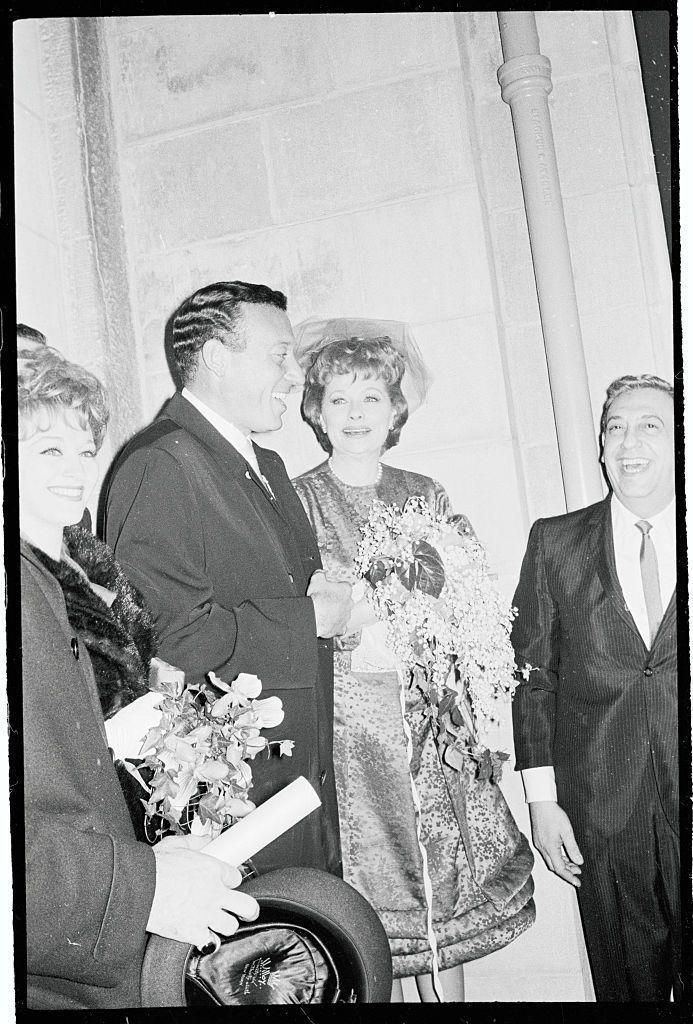"""<p>When Lucille Ball married her second husband, comedian Gary Morton, at Marble Collegiate Church in New York City, fans lined the streets and cheered """"I love Lucy."""" However big the crowd of well-wishers was outside of the church, only a small group of 40 friends and family members attended the ceremony. </p>"""