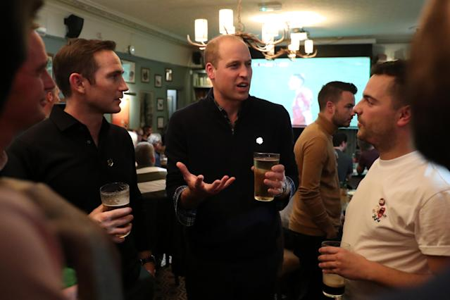Back in October the Duke of Cambridge joined fans and Frank Lampard (left) to discuss mental health issues [Photo: PA]