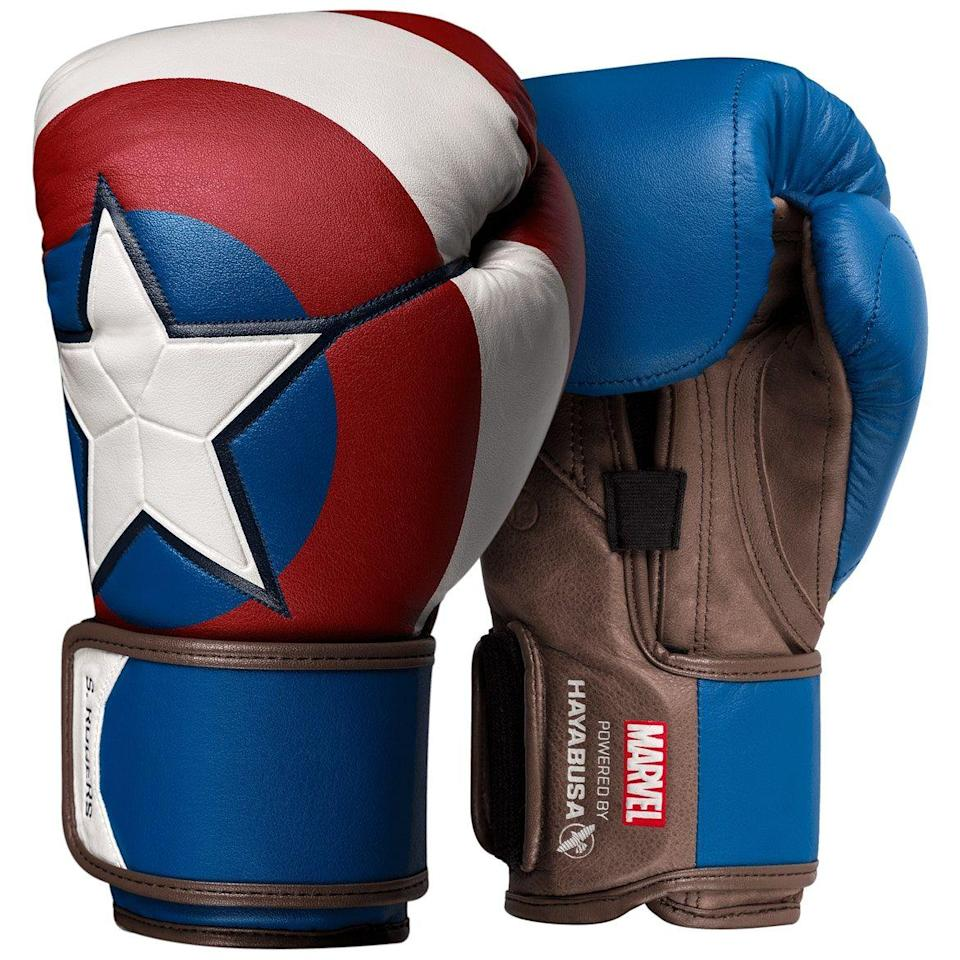 """<p><strong>Hayabusa</strong></p><p>hayabusafight.com</p><p><strong>$229.00</strong></p><p><a href=""""https://www.hayabusafight.com/products/marvel-captain-america-boxing-gloves"""" rel=""""nofollow noopener"""" target=""""_blank"""" data-ylk=""""slk:Buy"""" class=""""link rapid-noclick-resp"""">Buy</a></p><p>Gotta start training up for the day when you too will have to save the entire damn world with your strength alone. </p>"""