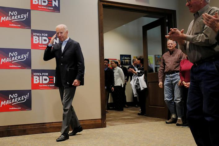 Biden in Emmetsburg, Iowa, on Monday. (Photo: Brian Snyder/Reuters)