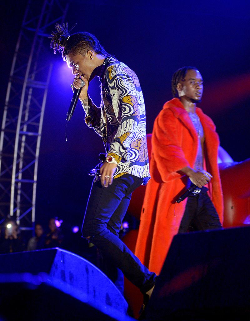Swae Lee (L) and Slim Jimmy of Rae Sremmurd perform onstage during FYF Fest 2016 at Los Angeles Sports Arena on August 28, 2016 in Los Angeles, California. (Photo by Matt Winkelmeyer/Getty Images for FYF)