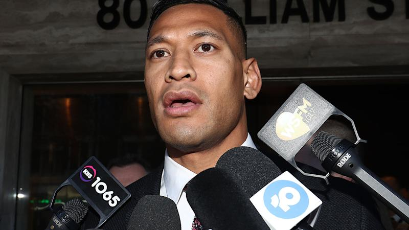 Israel Folau, pictured after failed mediation proceedings with Rugby Australia, has deleted his Instagram and Twitter accounts.