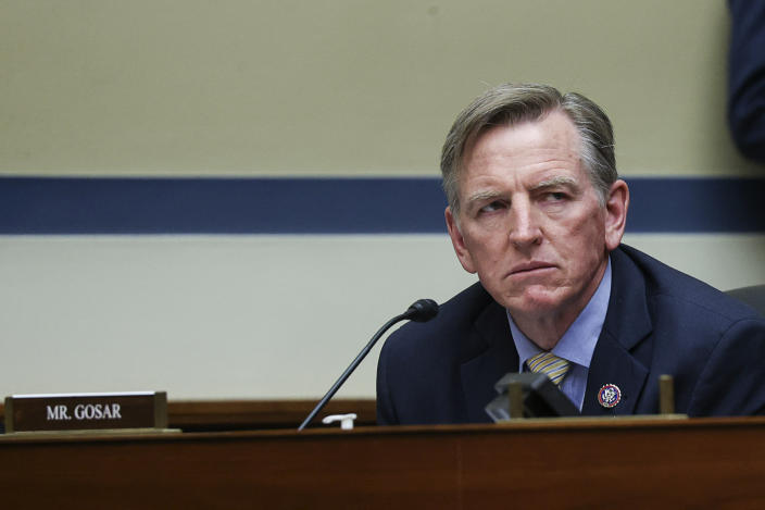 Rep. Paul Gosar (R-AZ) attends a House Oversight and Reform Committee hearing titled The Capitol Insurrection: Unexplained Delays and Unanswered Questions, regarding the January 6 attack on the US Capitol, in Washington, DC, on May 12, 2021. (Photo by JONATHAN ERNST / POOL / AFP) (Photo by JONATHAN ERNST/POOL/AFP via Getty Images)