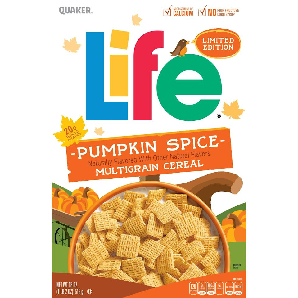 "<p><a href=""https://www.popsugar.com/buy?url=https%3A%2F%2Fwww.walmart.com%2Fip%2FQuaker-Life-Multigrain-Cereal-Pumpkin-Spice-18-Oz%2F146877056%3Fselected%3Dtrue&p_name=Quaker%20Pumpkin%20Spice%20Life&retailer=walmart.com&evar1=yum%3Aus&evar9=46598621&evar98=https%3A%2F%2Fwww.popsugar.com%2Ffood%2Fphoto-gallery%2F46598621%2Fimage%2F46598627%2FQuaker-Pumpkin-Spice-Life-Cereal&list1=fall%2Ccereal%2Cpumpkin%20spice&prop13=mobile&pdata=1"" rel=""nofollow"" data-shoppable-link=""1"" target=""_blank"" class=""ga-track"" data-ga-category=""Related"" data-ga-label=""https://www.walmart.com/ip/Quaker-Life-Multigrain-Cereal-Pumpkin-Spice-18-Oz/146877056?selected=true"" data-ga-action=""In-Line Links"">Quaker Pumpkin Spice Life</a> is a multigrain cereal that's perfect for breakfast. And for a savory snack, mix these crispy squares with nuts and pretzels!</p>"