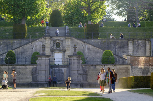 People enjoy La Cambre Abbey in Brussels, Belgium, on Sunday despite lockdown measures. (Getty Images)