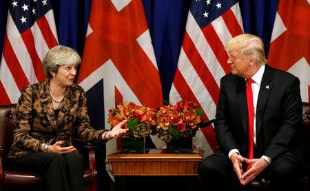 FILE PHOTO: U.S. President Donald Trump meets with British Prime Minister Theresa May during the U.N. General Assembly in New York, U.S., September 20, 2017. REUTERS/Kevin Lamarque/File Photo