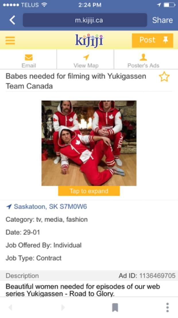 Yukigassen Team Canada went viral on social in media in 2016 after it placed a Kijiji ad looking for 'babes'.