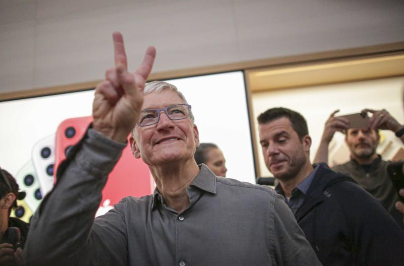 Apple CEO Tim Cook gestures after opening the newly renovated Apple Store at Fifth Avenue on September 20, 2019 in New York City. (Photo by Kena Betancur / AFP) (Photo credit should read KENA BETANCUR/AFP/Getty Images)
