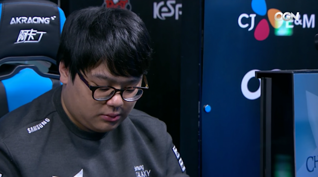 "Lee ""CuVee"" Seong-jin after Samsung Galaxy's 3-0 loss to KT Rolster (Twitch/OnGameNet)"