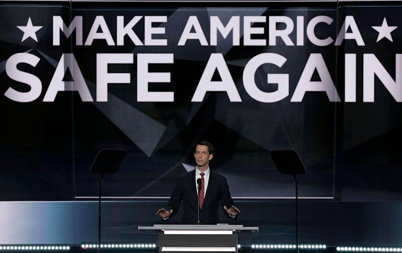 U.S. Senator Tom Cotton of Arkansas speaks about military issues and his military service at the Republican National Convention in Cleveland, Ohio, U.S. July 18, 2016. (Photo: Mike Segar / Reuters)