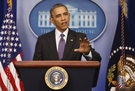 U.S. President Obama makes a statement to the media at the White House in Washington