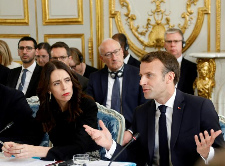 """New Zealand's Prime Minister Jacinda Ardern, left, and French President Emmanuel Macron at the launch ceremony for the """"Christchurch Call"""" initiative for stamping out online extremism in Paris on Wednesday"""