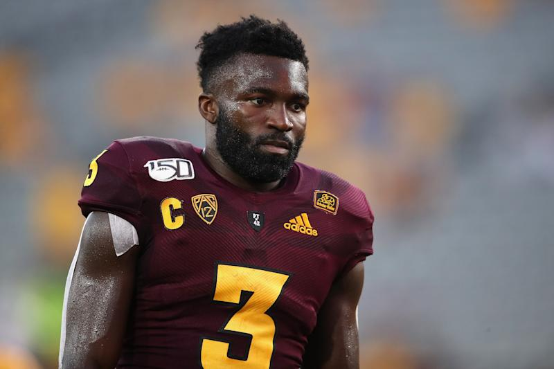 Arizona State RB Eno Benjamin was bottled up in 2018 against Michigan State and might need to factor even more as a receiver. (Getty Images)