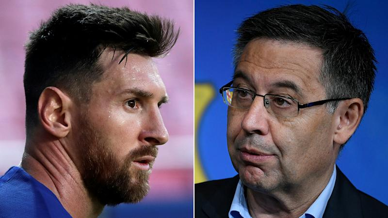 A 50-50 split image shows Lionel Messi on the left and Barcelona president Josep Maria Bartomeu on the right.