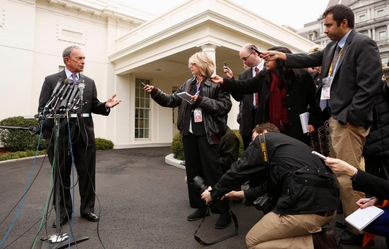 FILE PHOTO: New York Mayor Bloomberg speaks to reporters after his meeting regarding gun violence with U.S. Vice President Biden, at the White House in Washington