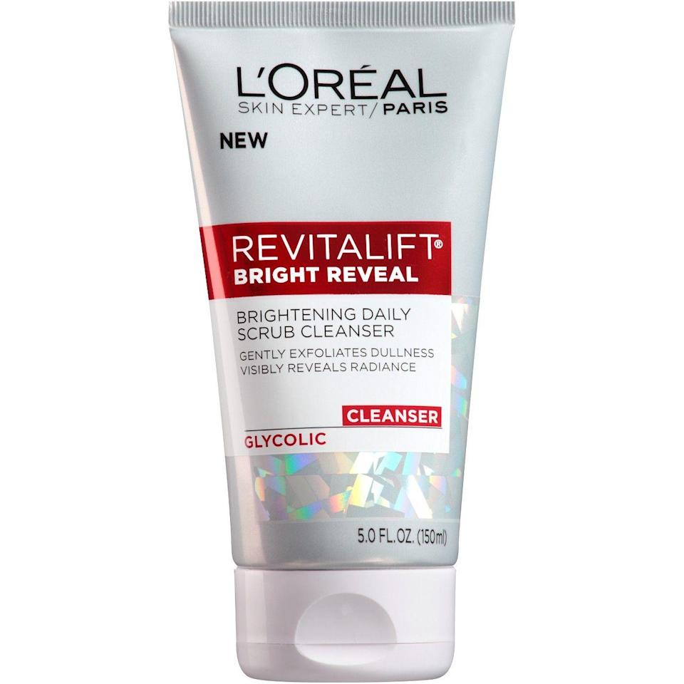 """<p>When <a href=""""https://www.refinery29.com/retinol-products-different-skin-types"""" rel=""""nofollow noopener"""" target=""""_blank"""" data-ylk=""""slk:retinol"""" class=""""link rapid-noclick-resp"""">retinol</a> is just too strong for your skin, opt for glycolic acid to fade dark marks instead. This brightening scrub from L'Oréal, which just hit shelves, is loaded with the stuff — and rings in at under $6.</p><br><br><strong>L'Oreal Paris</strong> Revitalift® Bright Reveal Brightening Daily Scrub Clean, $5.29, available at <a href=""""https://www.target.com/p/l-oreal-174-paris-revitalift-174-bright-reveal-brightening-daily-scrub-cleanser-5oz/-/A-50482847"""" rel=""""nofollow noopener"""" target=""""_blank"""" data-ylk=""""slk:Target"""" class=""""link rapid-noclick-resp"""">Target</a>"""