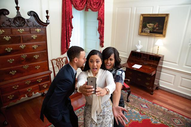 """First Lady Michelle Obama participates in a """"Let's Move!"""" Dubsmash video taping with NBA player Stephen """"Steph"""" Curry and his wife Yeysha in the Map Room of the White House, Feb. 4, 2016. [Photo: Official White House Photo by Lawrence Jackson]"""