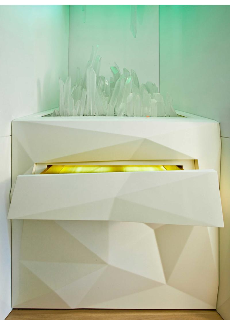 This crystalline cabinet was inspired by Hess and her client's mutual love of cinema.