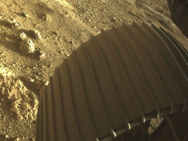 This is one of the six wheels on the Perseverance Mars rover, which landed on Feb. 18.