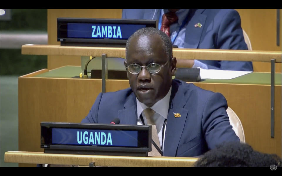 In this UNTV image, Philip Ochen Odida, Deputy Permanent Representative of Uganda to the United Nations, speaks in person during the 75th session of the United Nations General Assembly, Tuesday, Sept. 29, 2020, at UN headquarters in New York. (UNTV via AP)