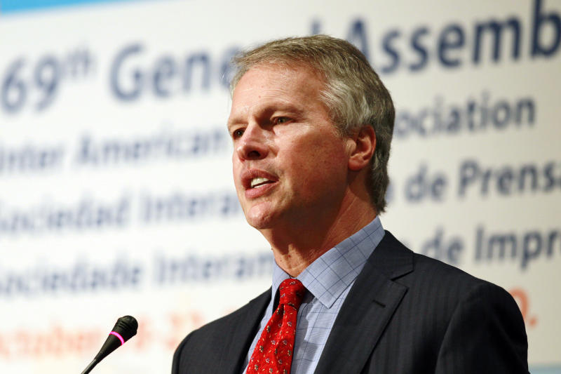 Gary Pruitt, president and CEO of The Associated Press, speaks about press freedom at the 69th General Assembly of the Inter American Press Association at a hotel in downtown Denver on Saturday, Oct. 19, 2013. (AP Photo/David Zalubowski)