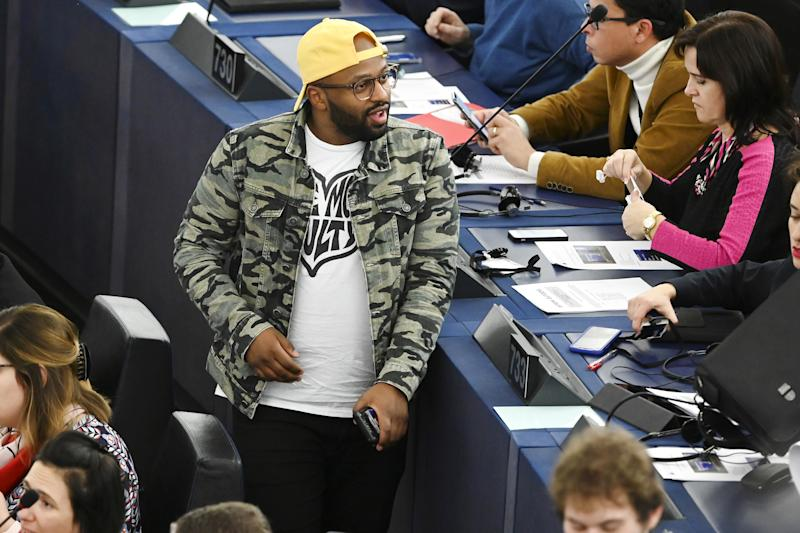 British Member of the Green party and of the European Parliament Magid Magid arrives to attend a voting session during a plenary session at the European Parliament on December 17, 2019 in Strasbourg, eastern France. (Photo by FREDERICK FLORIN / AFP) (Photo by FREDERICK FLORIN/AFP via Getty Images)