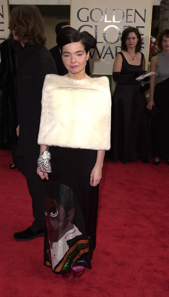 """You can always expect something unique and different from Bjork on the red carpet, but we prefer her infamous swan dress that she wore at the 2001 Oscars to this restricting homage to Michael Jackson. Steve Granitz/<a href=""""http://www.wireimage.com"""" target=""""new"""">WireImage.com</a> - January 21, 2001"""