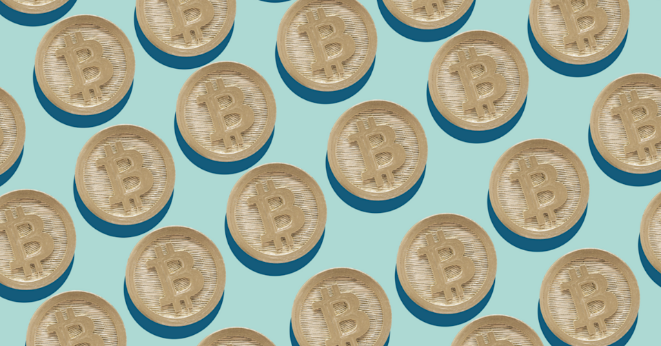 Cartoon depictions of Bitcoin in a diagonal line on a light blue background.