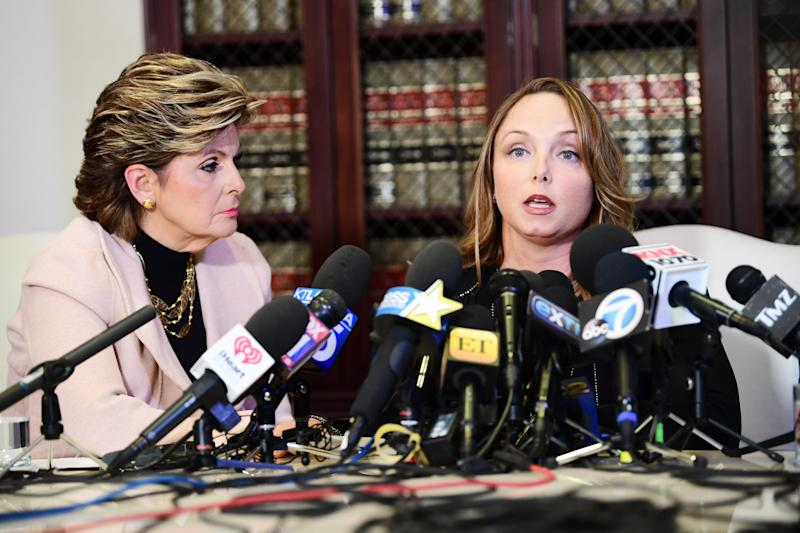 Gloria Allred and her client Louisette Geiss speak at a press conference. (Photo: Getty Images)