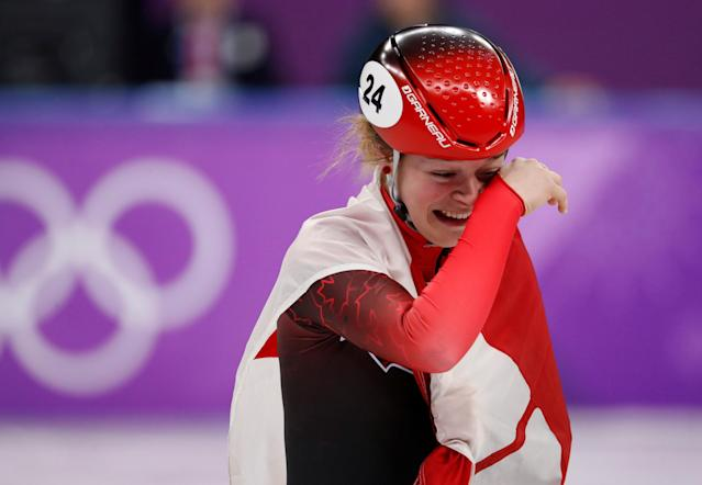 Short Track Speed Skating Events - Pyeongchang 2018 Winter Olympics - Women's 1500m Final - Gangneung Ice Arena - Gangneung, South Korea - February 17, 2018 - Bronze medallist Kim Boutin of Canada celebrates. REUTERS/Damir Sagolj TPX IMAGES OF THE DAY