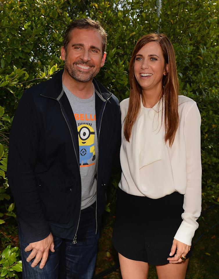 "LOS ANGELES, CA - JUNE 22: Actors Steve Carell (L) and Kristen Wiig attend the premiere of Universal Pictures' ""Despicable Me 2"" after party held at Universal City on June 22, 2013 in Los Angeles, California. (Photo by Mark Davis/Getty Images)"