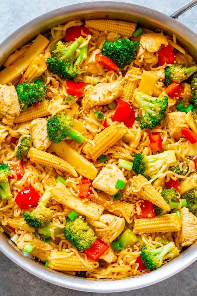 "<p>Upgrade the cheap ramen packets you used to stock up on in college by turning the noodles into a chicken, vegetable, and ramen stir-fry. </p> <p><b>Get the recipe</b>: <a href=""https://www.averiecooks.com/15-minute-chicken-vegetable-and-ramen-noodle-stir-fry/"" target=""_blank"" class=""ga-track"" data-ga-category=""Related"" data-ga-label=""https://www.averiecooks.com/15-minute-chicken-vegetable-and-ramen-noodle-stir-fry/"" data-ga-action=""In-Line Links"">15-minute chicken, vegetable, and ramen noodle stir-fry</a></p>"