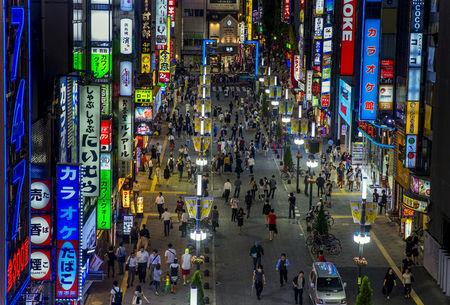 FILE PHOTO: An overview shows Shinjuku's nightlife district of Kabukicho in Tokyo, August 27, 2015.  REUTERS/Thomas Peter/File Photo