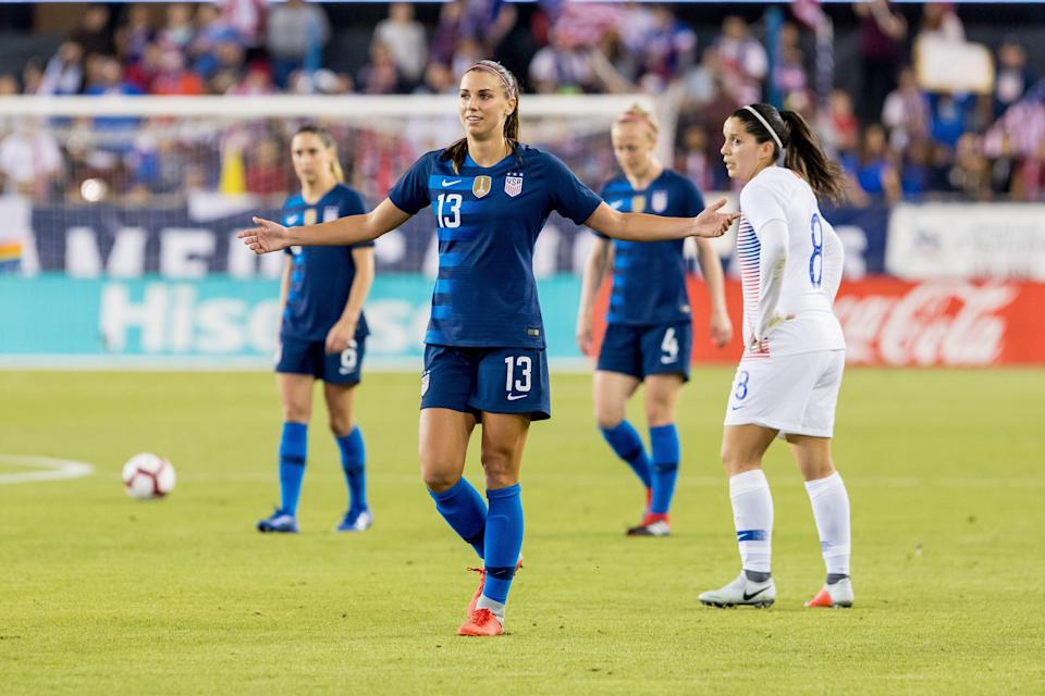 SAN JOSE, CA - SEPTEMBER 04: United States Women's National Team Forward Alex Morgan (13) questions a call by the referee during the United States Women's National Team against Chile on September 4, 2018, at Avaya Stadium in San Jose, CA. (Photo by Bob Kupbens/Icon Sportswire via Getty Images)