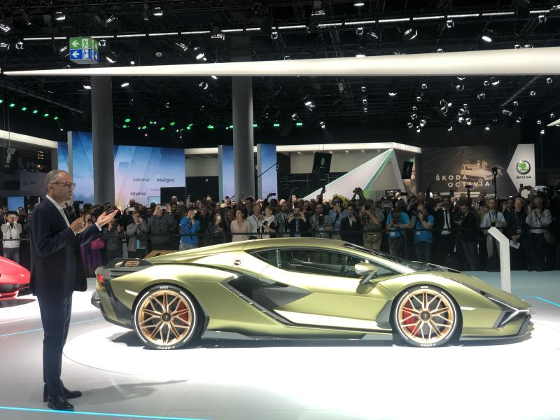 The Lamborghini Sian makes its debut at Frankfurt Motor Show 2019. Credit: Jill Petzinger
