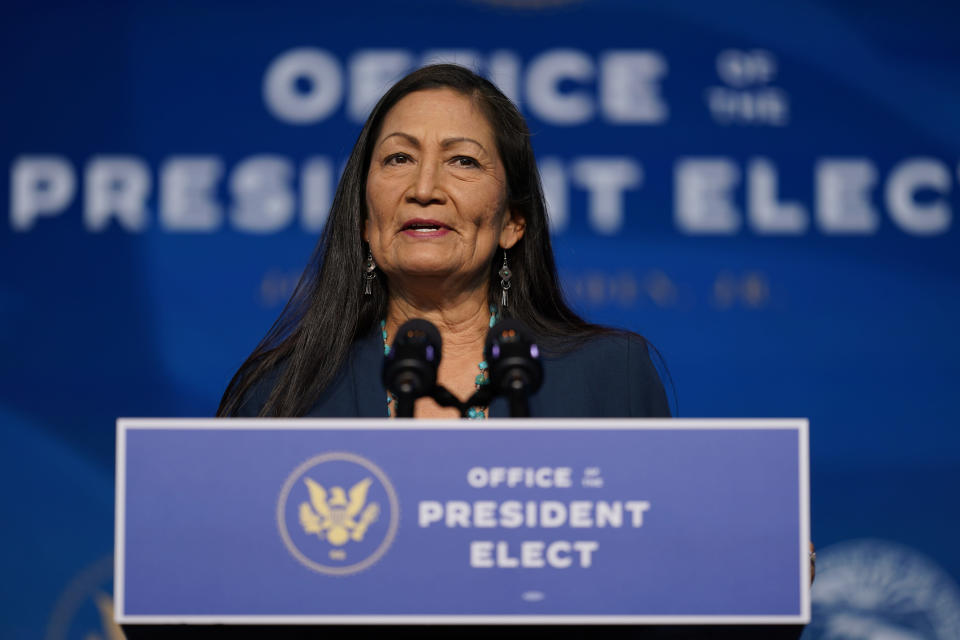 FILE - In this Dec. 20, 2020, file photo the Biden administration's nominee for Secretary of Interior, Rep. Deb Haaland, D-N.M., speaks at The Queen Theater in Wilmington Del. Haaland has stood with fellow tribal members in protesting an oil pipeline, advocating for protecting cultural landmarks and criticizing destruction of Native American sites near the U.S.-Mexico border. Native Americans have reason to believe the two-term U.S. congresswoman will push forward on long-simmering issues in Indian Country if she's confirmed as secretary of the Interior Department. (AP Photo/Carolyn Kaster, File)