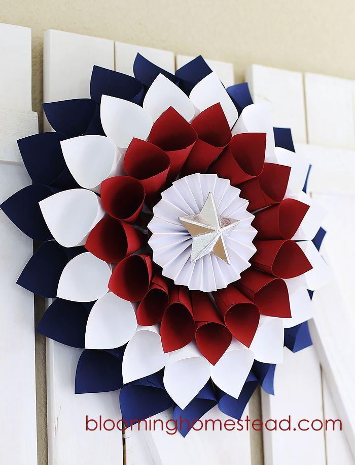 """<p>Cardstock petal cones are glued to a cardboard circle base to create this festive DIY decoration with a paper mache star at its center. </p><p><strong>Get the tutorial at <a href=""""https://www.bloominghomestead.com/2014/05/diy-patriotic-wreath.html/2"""" rel=""""nofollow noopener"""" target=""""_blank"""" data-ylk=""""slk:Blooming Homestead"""" class=""""link rapid-noclick-resp"""">Blooming Homestead</a>. </strong></p><p><a class=""""link rapid-noclick-resp"""" href=""""https://www.amazon.com/gp/product/B014TBLG8K/ref=as_li_ss_tl?ie=UTF8&linkCode=sl1&tag=syn-yahoo-20&linkId=baa2dd7e01ddf9310a4c5b333c3390ae&ascsubtag=%5Bartid%7C10050.g.4464%5Bsrc%7Cyahoo-us"""" rel=""""nofollow noopener"""" target=""""_blank"""" data-ylk=""""slk:SHOP CARDSTOCK"""">SHOP CARDSTOCK</a></p>"""