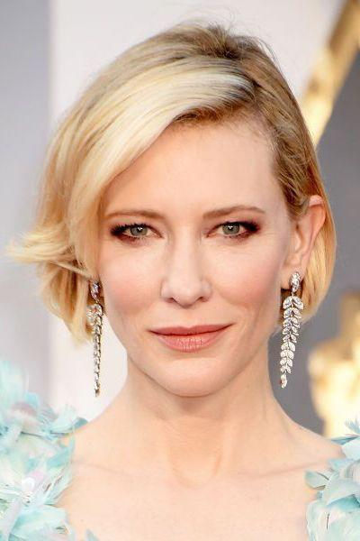 <p>Short, sleek and curled under, Cate Blanchett's bob is chic AF.</p>