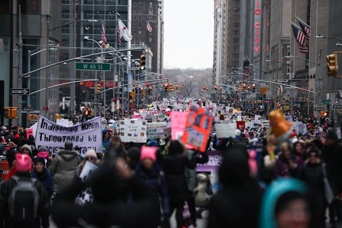 People participate in the Women's March in Columbus Circle in New York on Jan. 19, 2019. (Photo: Atilgan Ozdil/Anadolu Agency/Getty Images)