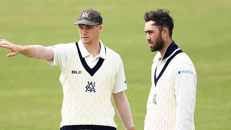 Peter Handscomb seen here with Victoria Sheffield Shield teammate Glenn Maxwell.