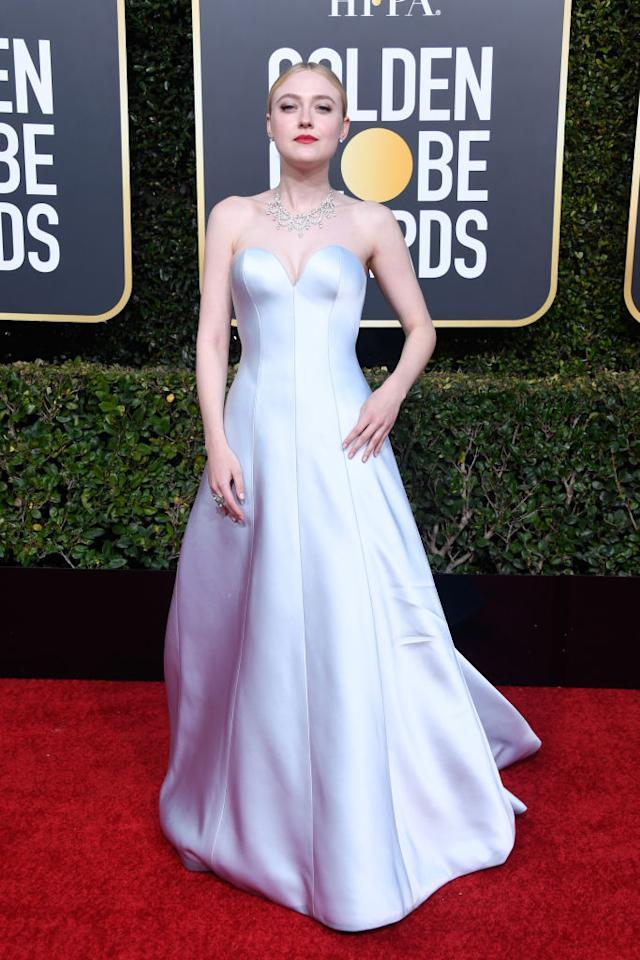 <p>Dakota Fanning attends the 76th Annual Golden Globe Awards at the Beverly Hilton Hotel in Beverly Hills, Calif., on Jan. 6, 2019. (Photo: Getty Images) </p>