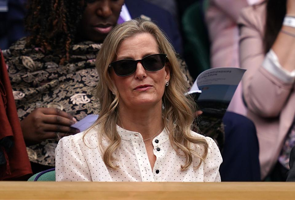 The Countess of Wessex in the Royal Box at Centre Court on day ten of Wimbledon at The All England Lawn Tennis and Croquet Club, Wimbledon. Picture date: Thursday July 8, 2021. (Photo by John Walton/PA Images via Getty Images)