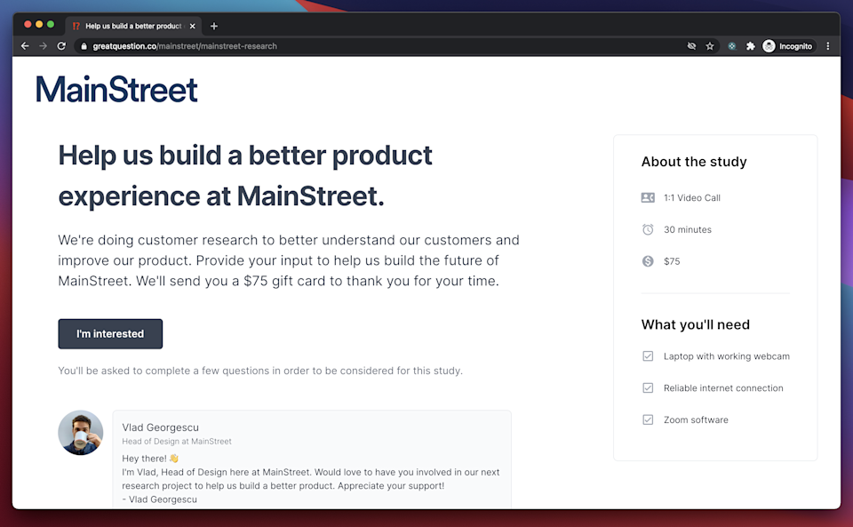 A landing page created for MainStreet with Great Question's user research platform
