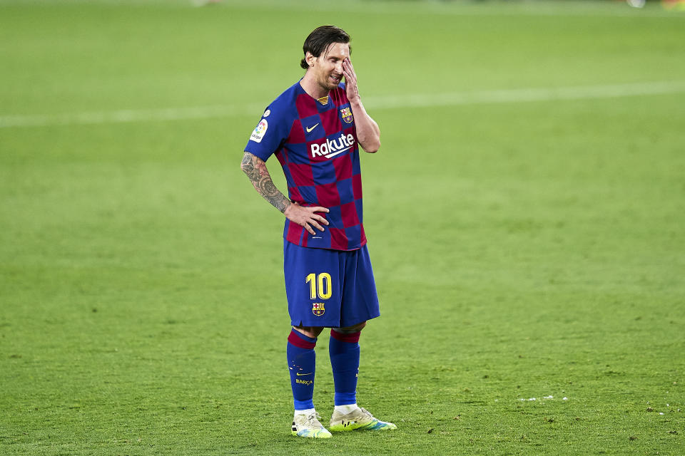 SEVILLE, SPAIN - JUNE 19: Lionel Messi of FC Barcelona reacts at the end of the Liga match between Sevilla FC and FC Barcelona at Estadio Ramon Sanchez Pizjuan on June 19, 2020 in Seville, Spain. (Photo by Mateo Villalba/Quality Sport Images/Getty Images)