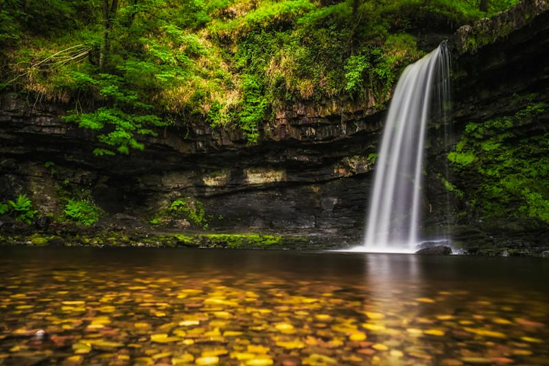 Sgwd Gwladys Waterfall in the Brecon Beacons. Long exposure image.