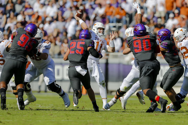 Texas quarterback Sam Ehlinger threw four interceptions in a loss to TCU. (Photo by Matthew Pearce/Icon Sportswire via Getty Images)